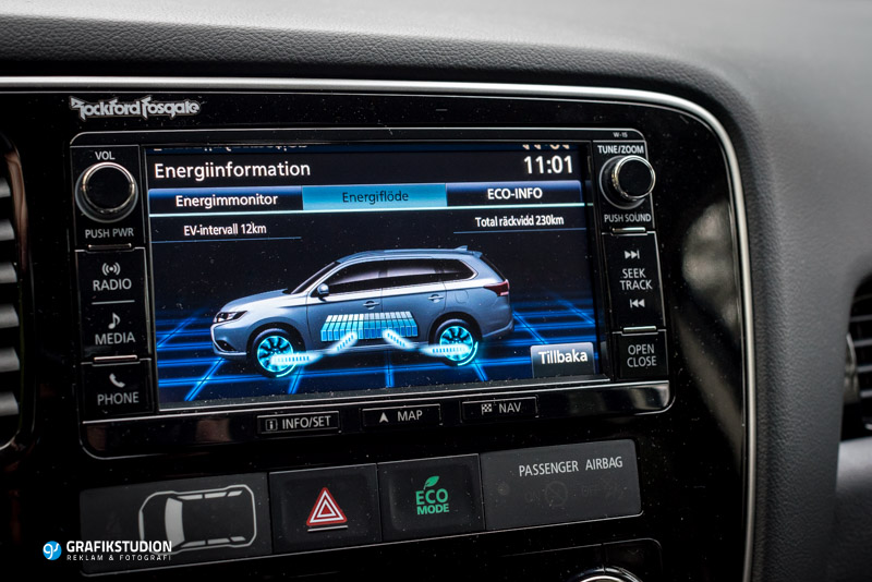 Mitsubishi Outlander plug-in hybrid navigation system with energy consumption display
